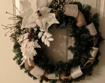 "24"" Elegant Winter wreath"