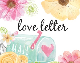 WATERCOLOR Flower Clipart • [love letter, leaves & mailbox]