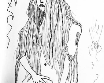 Naked Lady with Skull Illustration