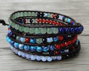 Gypsy wrap bracelet leather bead bracelet boho bead wrap bracelet 5 wraps bead bracelet yoga leather bracelet bohemian Jewelry SL-0313
