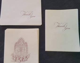 Vintage Thank You Note Cards/Friends/Biblical/Envelopes/White/Burgundy/Chapel/Sympathy/Flowers/Horizontal/Stationary/Correspondence/Thankful