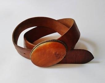 Vintage 60s Brown Leather Belt handmade wooden buckle boho hippie western