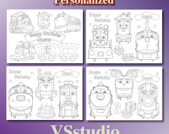 Chuggington Trains Birthday Party Favor Coloring Pages PDF File