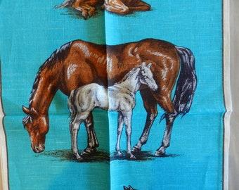 Horse Foal 1970's Vintage Unused Linen Tea Towel Dishcloth GOD IS LOVE