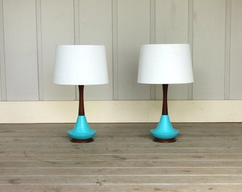 Mid Century Turquoise Blue Ceramic Walnut Wood Lamp Pair Modern Atomic Retro 50's 60's Danish Style Aqua