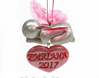 Personalized Sleeping Baby Angel Ornament - hand sculpted angel / butterfly keepsake with year and name - made to order in your color choice