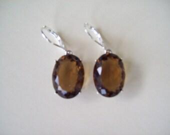 Sterling Silver Earrings - Smoky Brown 16x12mm oval
