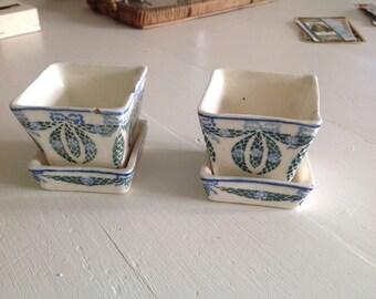Small austrian antique art nouveau flower pots set of two shabby chic pottery 1910s