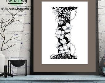 PRINTABLE Monogram Letter I Digital Print Hand Drawn Pen and Ink