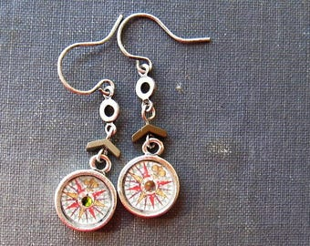 Little compass earrings, nautical earrings, nautical jewelry