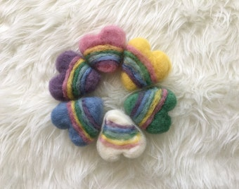 Felted Rainbow Hearts,Photography Prop, Rainbow Baby, Photo Session, Newborn Prop