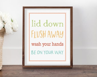 Flush Toilet Sign, Bathroom Sign, Kids Bathroom Art, Bathroom Rules Sign, Bathroom Rules, Bathroom Rules Sign, Colorful Art, Printable Art