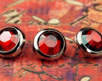 10 rouge Magma cristal cheveux boutons pressions - ronde argent jante édition--faite avec des strass Swarovski Element