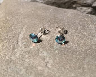 Swarovski Aquamarine Crystal Stud Earrings Sterling Silver Posts and Scrolls 5mm