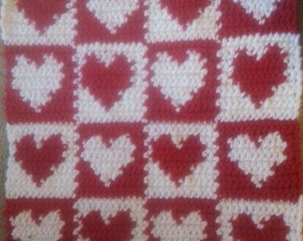 "20"" Crochet Heart Patchwork Pet/Cat/Sm Dog Blanket/Bed/Mat/Rug Free Shipping"