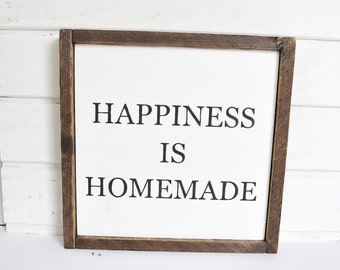 HAPPINESS IS HOMEMADE | Farmhouse | Wood Sign | Home Decor | Wall Art | Rustic