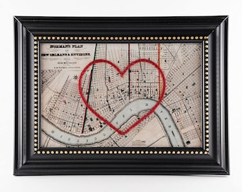 New Orleans Hand Embroidered Heart Map, New Orleans Art, Louisiana, Wedding Gift, Paper, Cotton Anniversary, Engagement, Mother's Day Gift