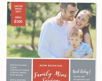 Family mini session template, Daddy and me photography marketing board, psd template card, Photography template, Photoshop template