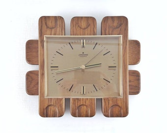 Vintage German Wooden and Fat Lava Ceramic Tile Wall Clock by Junghans