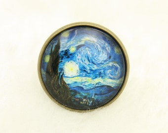 Starry Night Ring, Van Gogh Jewelery, Gift For Artist, Starry Night Jewelery, Adjustable Ring, Cabochon Ring, Van Gogh painting,brass 2020
