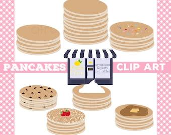 Pancake Clip Art Slumber Party Sleep Over Clip Art Chocolate Chip Rainbow Sprinkles Powdered Sugar SALE!