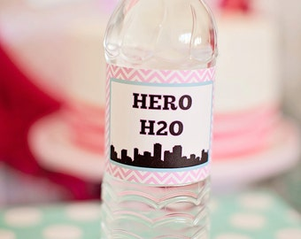 DIY Printable Water Bottle Labels - Girl Superhero Party