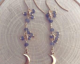 Iolite Drop Earrings // Moon Earrings //