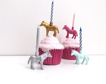 Gold Silver Mint Pink Pony Candle Holder Cake Topper / Horse Animal Birthday Party Decor Supplies / Donkey Zebra Party / Cupcake Decoration