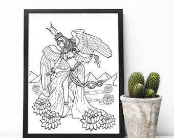 African Goddess Adult Colouring Page, Printable Coloring Pages Zen Doodle Art- Aset/ Isis