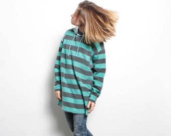 90s nirvana GRUNGE striped HOODIE button up down shirt SWEATSHIRT hoodie teal and blue crossover