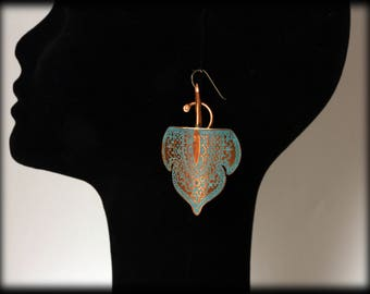 Kareem- Copper etched earrings with Verdigris by Ramosa Jewelry