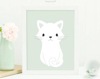 Cat Print, Printable Nursery Art, Baby Animal Nursery Wall Art, Baby Girl Gift, New Baby Gift, Baby Shower Gift, Baby Boy Nursery Decor