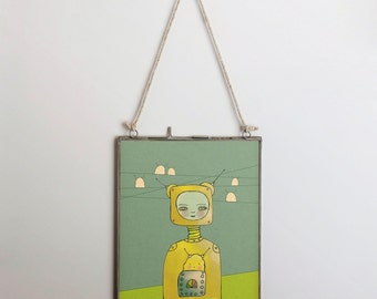 Sanctuary // Illustration Print, Children, Animal Art, Robot, Nursery Art, Digital Giclee, Drawing, Painting, Modern Art, Friends