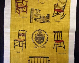 Vintage Tea Towel, Take a Load Off - Seating, 100% Linen, Never Used