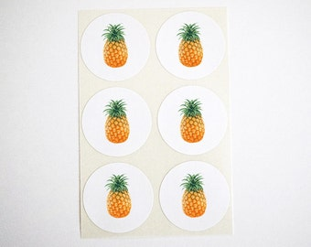 Pineapple Stickers. Round Stickers. Summer Pineapple Party Favor Seals. Pineapple Labels. Pineapple Envelope Seals