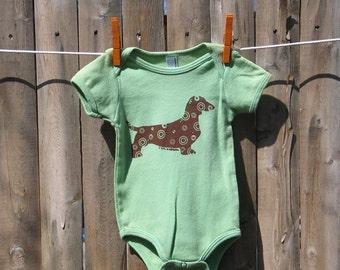 Dachshund Baby One-Piece One-Piece in Grass Green