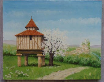 Dovecote Southwest oil painting signed the PALIS french Southwest France dovecot pigeon house oil paint