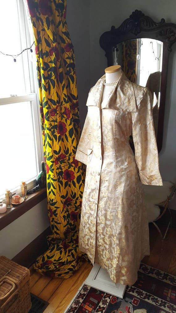 Coat Wasp Old Jacket Hollywood Silk Gold Princess 1940s Waist Vintage Brocade 40's 1940s z81Tw