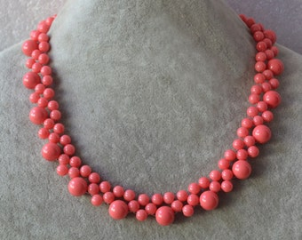 pink coral bead necklace, pink coral color glass pearl necklace,statement necklace, woman necklace, bridesmaid jewelry,wedding necklaces