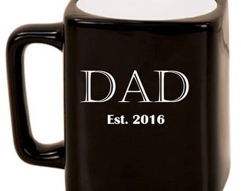 DAD Est. -- Laser Etched Ceramic Mug, Customized Gifts for Him