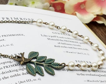 Swallow Bird Leaf Pearl Necklace, Verdigris Patina Green Leaf Branch Necklace, Bird Necklace, Woodland Rustic Romantic Wedding, Gift For Her