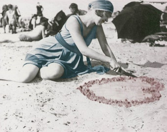 Flapper Draws Heart in Sand fine art tinted vintage photograph