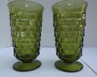 Vintage Green Scaled Glasses (Set of 2)