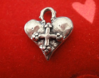 925 sterling silver oxidized  heart with cross charm 1 pc.