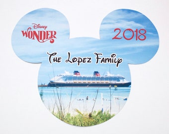 Disney Cruise Magnet - Large Mickey w/ Personalization - Castaway Cay