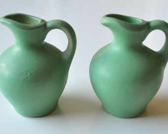 Pair of Small Green Pottery Pitcher / Vase Set
