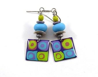 Handmade Earrings, Turquoise and Green Earrings,  Boho Earrings, Silver Earrings, Turquoise Earrings, Artisan Earrings, Paint and Resin