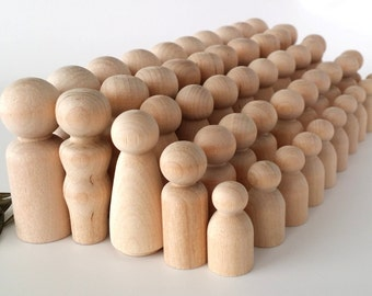 50 Wooden Peg Dolls / 10 Families of 5 / Peg People / Waldorf / Unfinished Maple Ready to Paint / Ten Families of Five