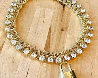 Gorgeous 100% authentic Louis Vuitton Lock Rhinestones Bling Choker