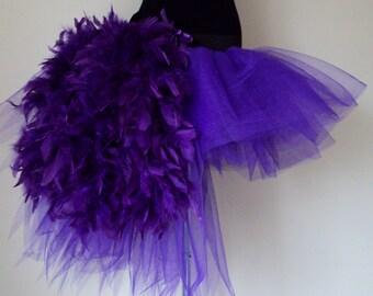 Purple tutu skirt Burlesque  size U.S. 4 - 10 U.K. 6 - 12  feathers